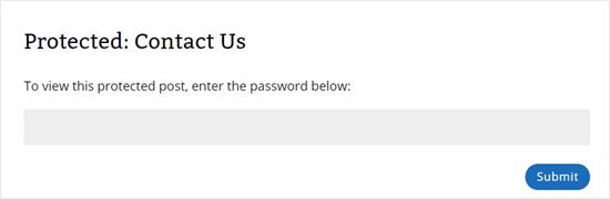 La página de contacto ahora muestra 'Protegido: Contáctenos' como título y requiere una contraseña