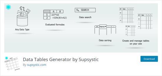 Complemento generador de tablas de datos para WordPress