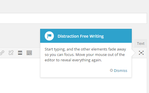 Launch distraction-free mode in WordPress