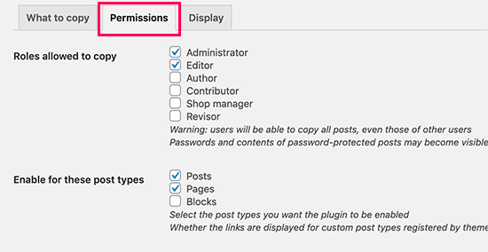 Duplicar permisos de publicación