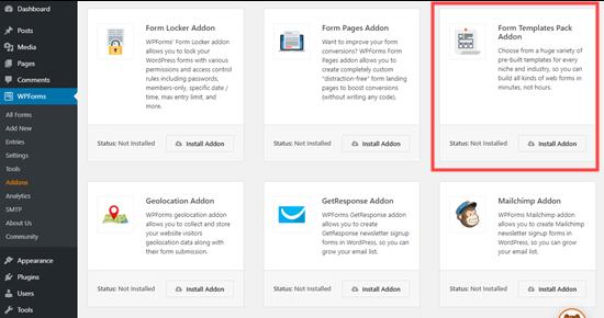 WPForms üçün 'Form Şablon Paketi' plugin
