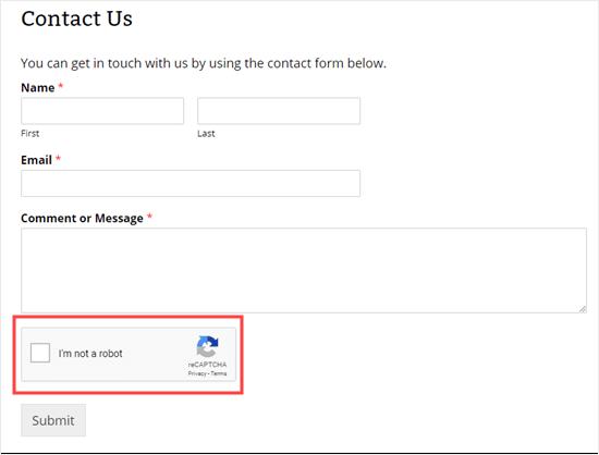 Formulario de contacto con caja reCAPTCHA