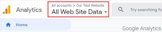 Compruebe que tiene el sitio web correcto seleccionado en Google Analytics