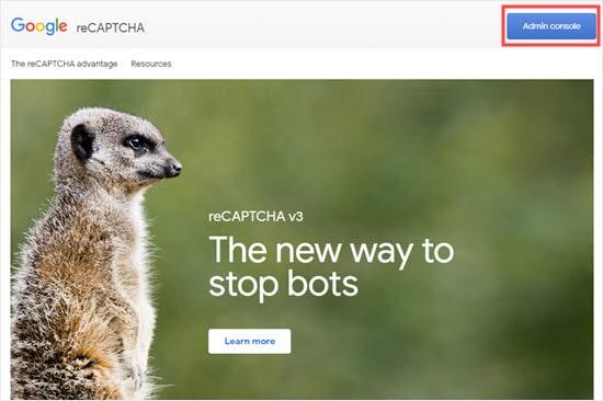 La página principal de la consola de administración de Google ReCAPTCHA