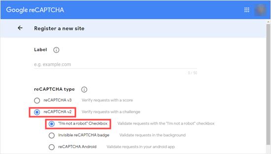 Seleccionando la casilla de verificación 'reCAPTCHA v2' y 'No soy un robot'