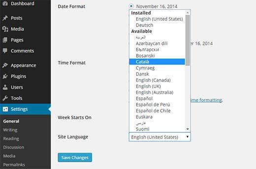 Parametrlər ekranında WordPress idarəetmə sahəsində bir dil seçin