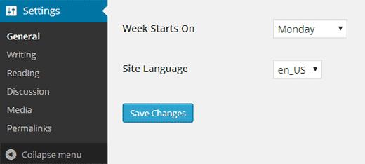 WordPress parametrlərində dil seçin