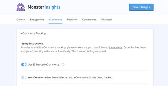 La configuración de comercio electrónico en MonsterInsights