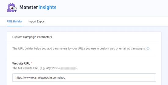 La herramienta de creación de URL MonsterInsights