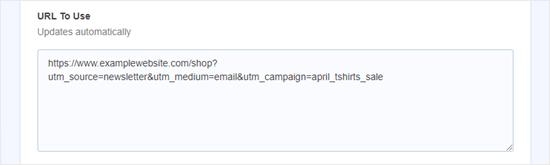 La URL creada por la herramienta de creación de URL MonsterInsights, con los parámetros UTM en su lugar