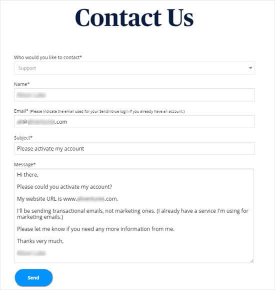 Ota yhteyslomakeviesti Sendinblueen pyytääksesi tilin aktivointia