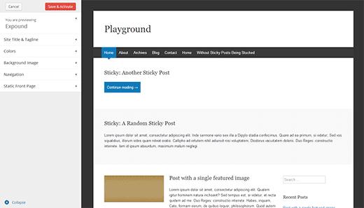 Teeman esikatselunäyttö WordPress-kehitysversioissa 3.8