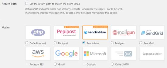 Valitse sähköpostiosoitteesi Sendinblue WP Mail SMTP -sovelluksessa
