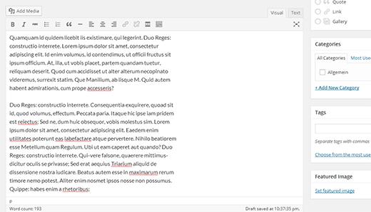 WordPress-də təkmilləşdirilmiş poçt redaktoru 4.0