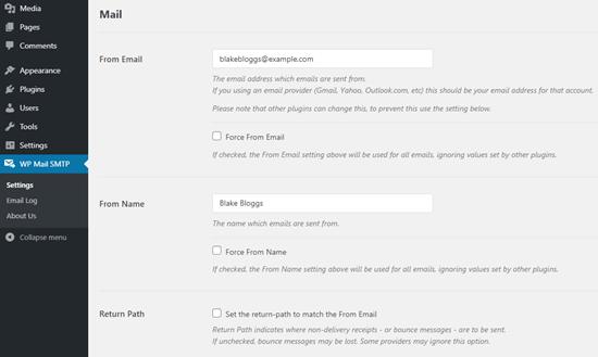 Anna nimi ja sähköpostiosoite mistä haluat WordPress-sähköpostiosoitteidesi tulevan