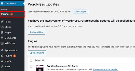 WordPress yeniləmələri