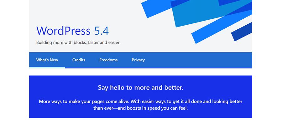 Pantalla de bienvenida de WordPress