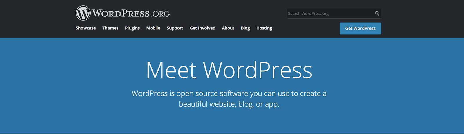 WordPress, el mejor sitio de blogs gratuito y CMS (captura de pantalla)