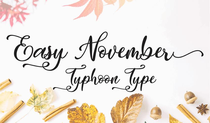fuente libre caligrafía tipografía guión noviembre fácil