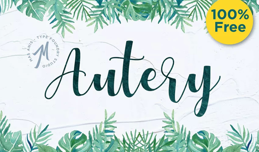 fuente libre caligrafía tipografía script Autery Script