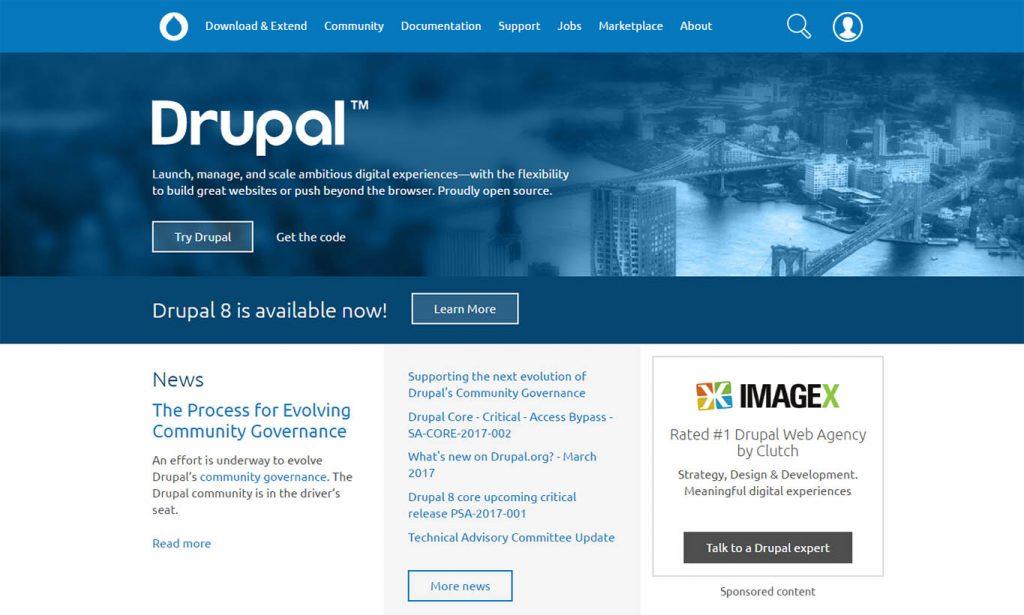 "Drupal-best-cms-platform ""width ="" 720 ""height ="" 432 ""srcset ="" https://themegrill.com/blog/wp-content/uploads/2017/05/Drupal-best-cms-platform-1024x615 .jpg 1024w, https://themegrill.com/blog/wp-content/uploads/2017/05/Drupal-best-cms-platform-300x180.jpg 300w, https://themegrill.com/blog/wp-content /uploads/2017/05/Drupal-best-cms-platform-768x461.jpg 768w, https://themegrill.com/blog/wp-content/uploads/2017/05/Drupal-best-cms-platform.jpg 1365w ""tamaños ="" (ancho máximo: 720px) 100vw, 720px ""> El CMS más antiguo entre las tres plataformas comparadas aquí, Drupal es el <strong><a href="