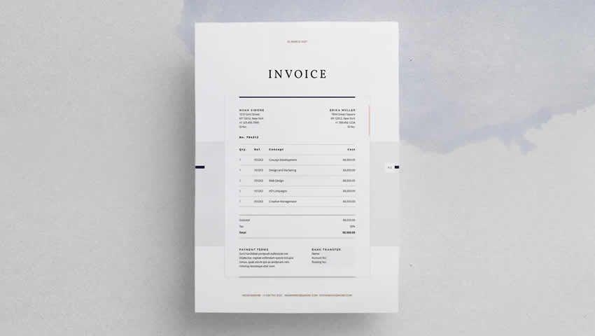 La factura de diseño de InDesign INDD