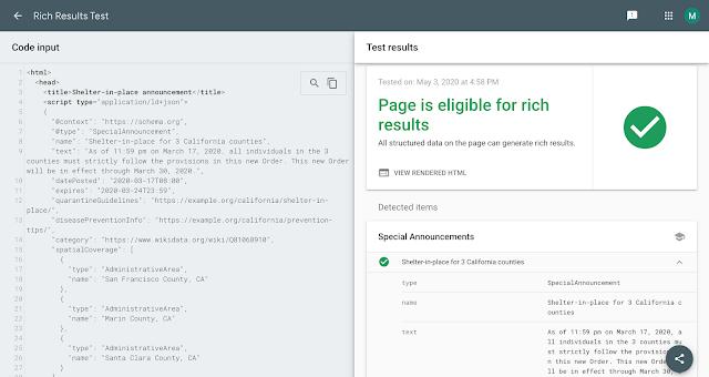 Google Search Console informa sobre el esquema de anuncio especial de COVID-19