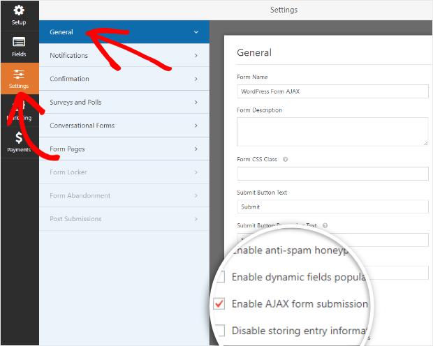 habilitar el envío de formulario ajax de wordpress