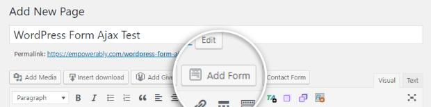 agregar formulario a la página de WordPress