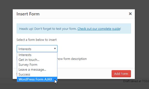 seleccione el formulario ajax del menú desplegable
