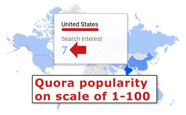Captura de pantalla de Google Trends que muestra la falta de popularidad de Quora en los Estados Unidos