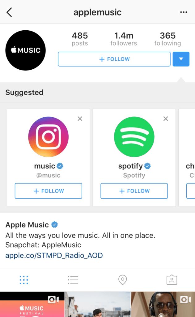 característica sugerida de instagram