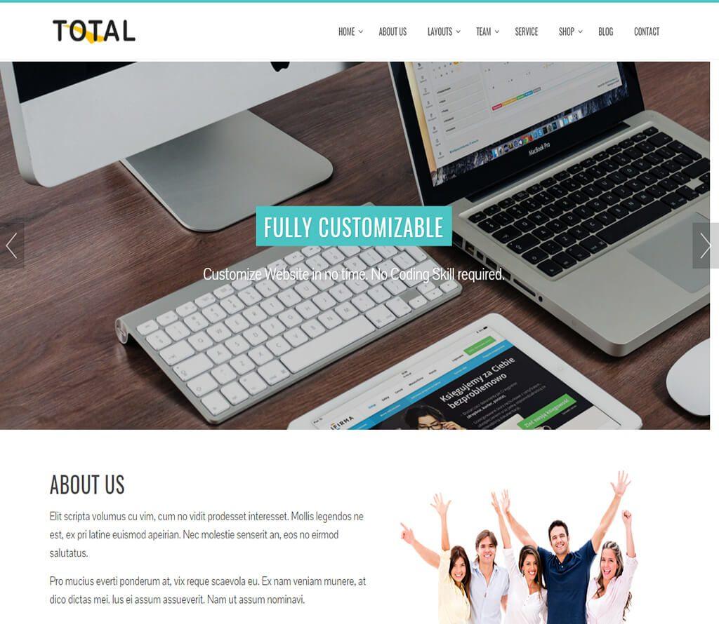 """total-free-business-theme """"width ="""" 720 """"height ="""" 626 """"srcset ="""" https://themegrill.com/blog/wp-content/uploads/2016/12/total-free-business-theme.jpg 1024w, https://themegrill.com/blog/wp-content/uploads/2016/12/total-free-business-theme-300x261.jpg 300w, https://themegrill.com/blog/wp-content/uploads /2016/12/total-free-business-theme-768x668.jpg 768w """"tamaños ="""" (ancho máximo: 720px) 100vw, 720px """"> Multipropósito y versátil, Total es otro tema de WordPress que se ajusta a la lista de los mejores temas de negocios en WordPress. Simple, limpio y elegante en su diseño, el tema es adecuado para cualquier tipo de sitios, desde carteras hasta empresas corporativas. Si los colores vibrantes y brillantes no son lo que crees que hace que tu sitio sea atractivo, también tienes la opción de elegir gama de colores para tu tema.</p> <p>El tema se presenta audazmente en el tema de una página con un efecto de desplazamiento suave con controles deslizantes bellamente diseñados. Cualquier cosa que pueda necesitar en la sección de la página de inicio, este tema lo tiene. Desde las secciones Destacado a Portafolio para exhibir sus trabajos, también tiene una Sección de mostrador, una sección de Cliente, así como una sección de Servicio y una Sección de miembros del equipo, por nombrar algunas.</p> <p>Por versátil que sea, también es muy compatible con los complementos de WooCommerce para mejorar las características del sitio web. ¡Los controles deslizantes de texto están disponibles en una forma animada que lleva su sitio web a un nivel completamente nuevo! Resumiendo todo, Total como su nombre lo dice es un paquete total de todo lo que necesita en una plantilla para construir su perfil comercial.</p> </p> <hr> <h3>Punteado</h3> <p><img class="""