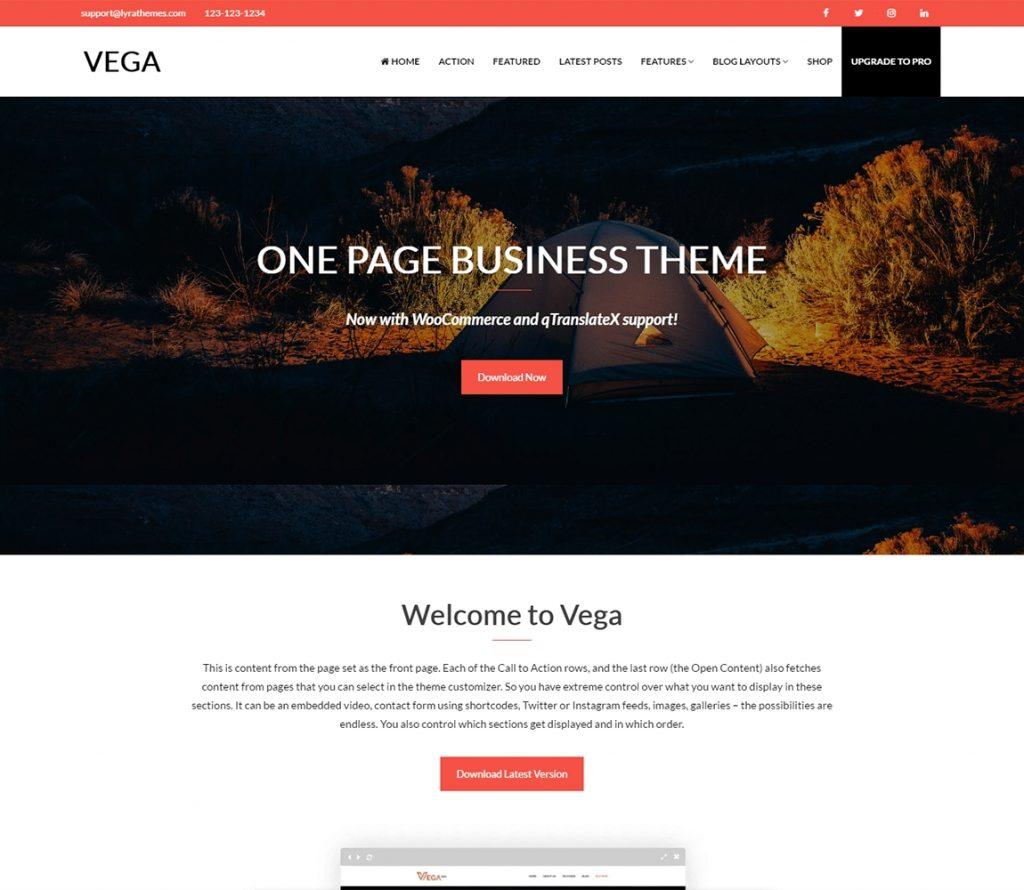 Vega - El mejor tema de cartera de negocios de una página gratis
