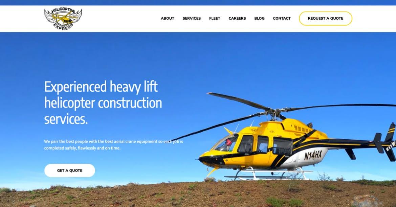 Sitio web de Helicopter Express yellow
