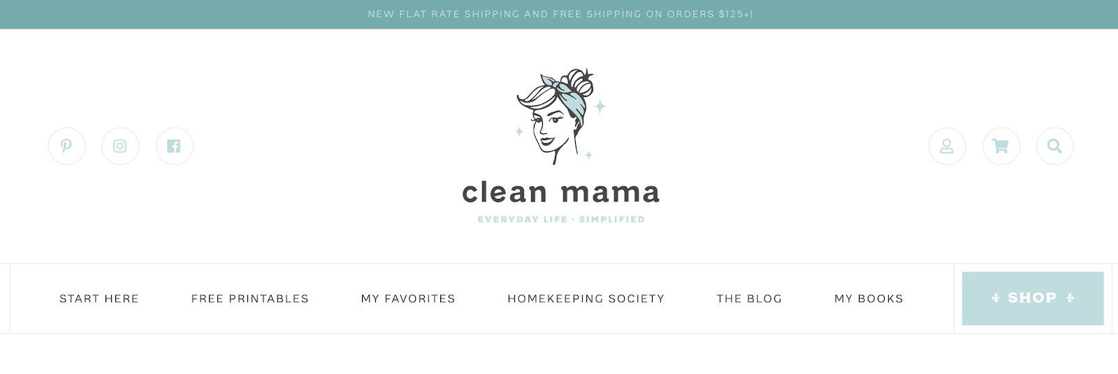 Captura de pantalla de Clean Mama Homepage (Ejemplo de menú)