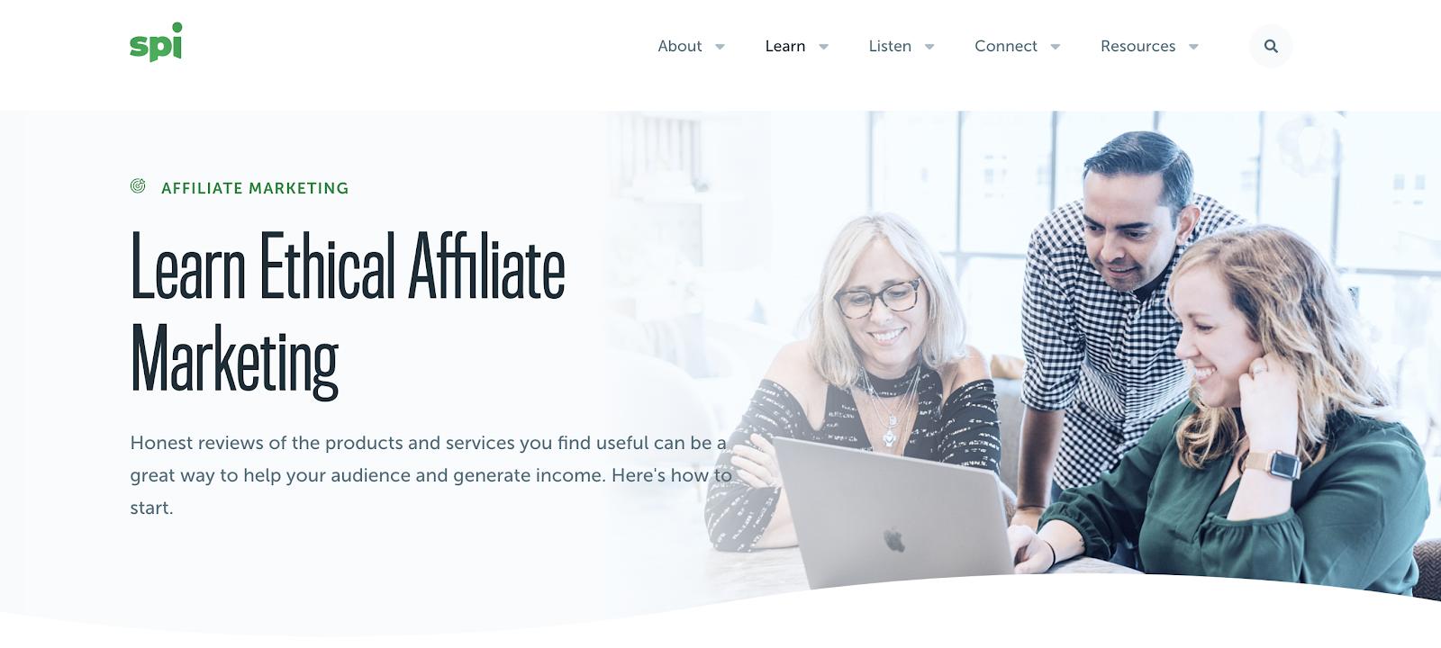 Página de inicio de captura de pantalla del Centro inteligente de aprendizaje de ingresos pasivos (marketing de afiliados)