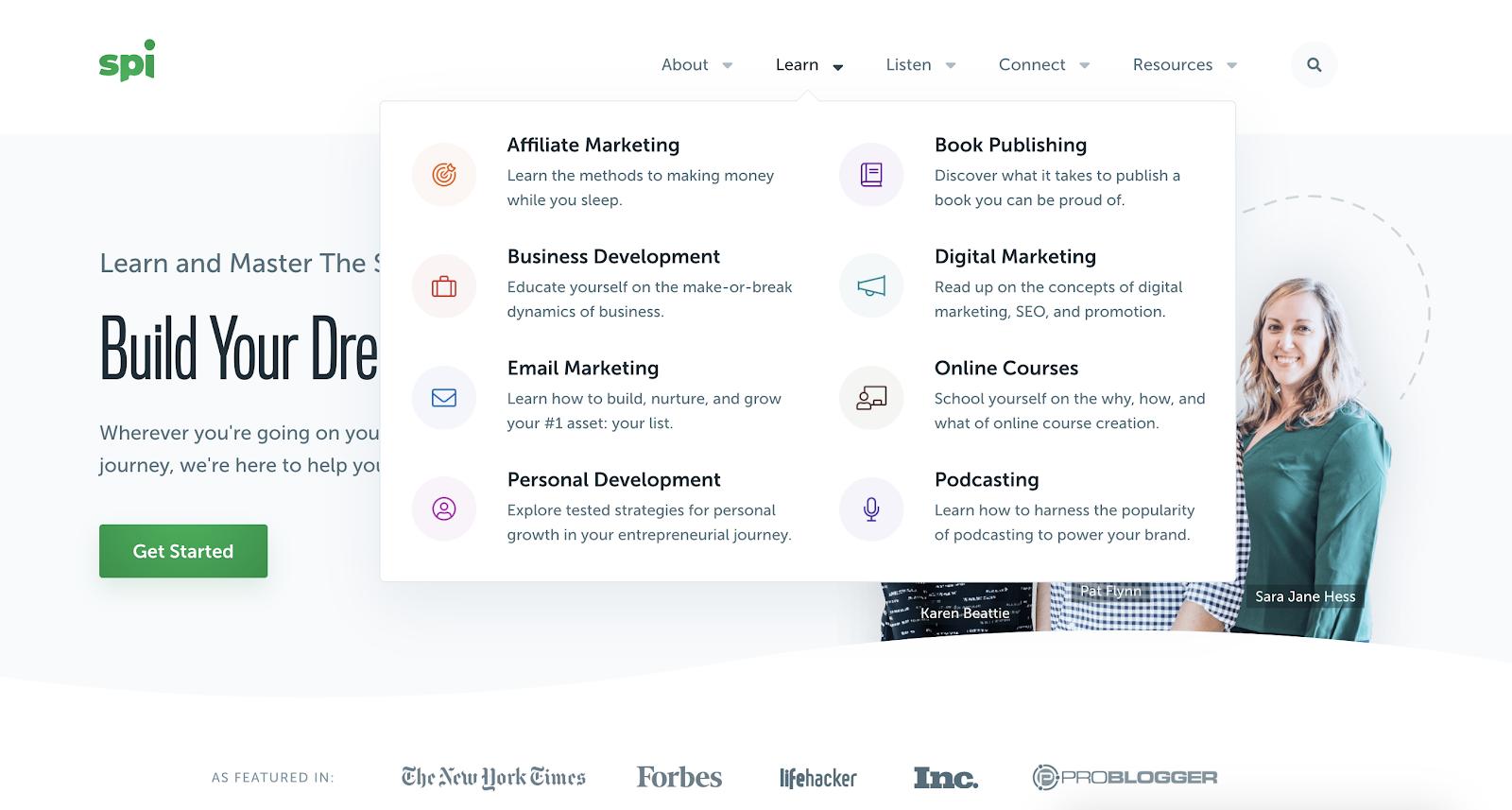 Captura de pantalla del diseño de la página de inicio de ingresos pasivos inteligentes (menú del centro de aprendizaje)