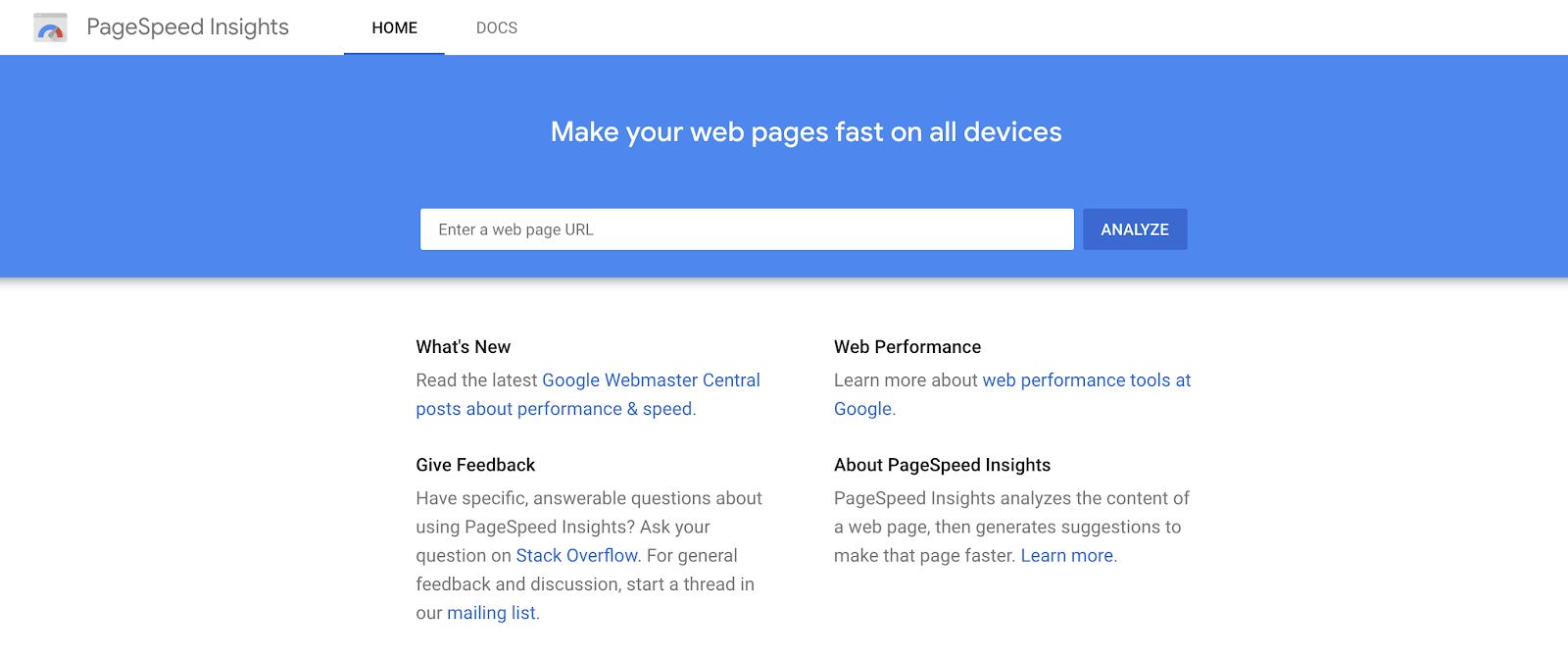 Herramienta Google Page Speed Insights (captura de pantalla) para ver el tiempo de carga de la página