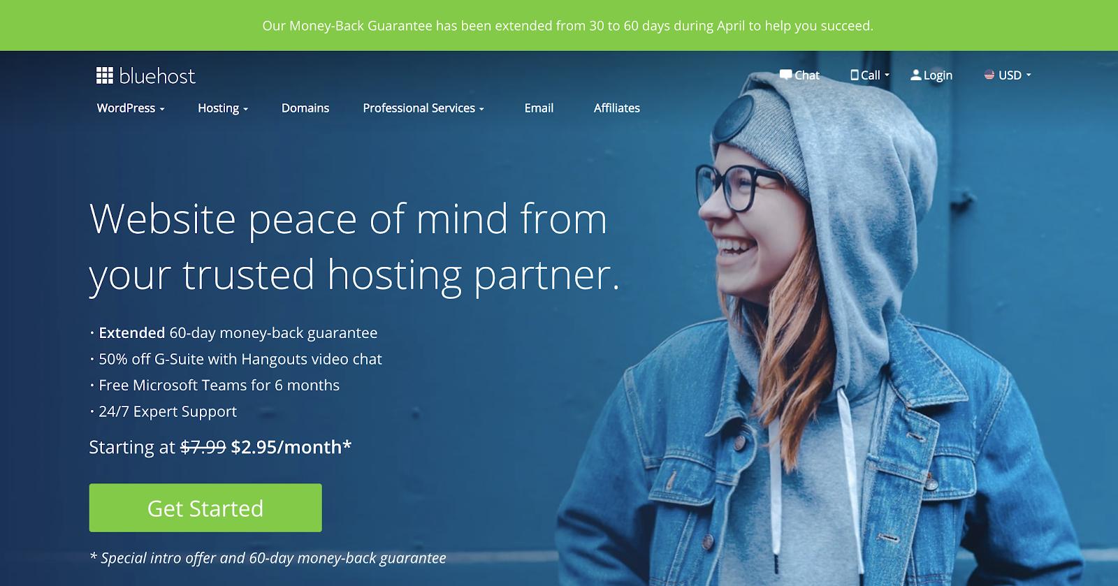 Captura de pantalla de la página de inicio de Bluehost Hosting Plans (para una velocidad de carga de página más rápida)