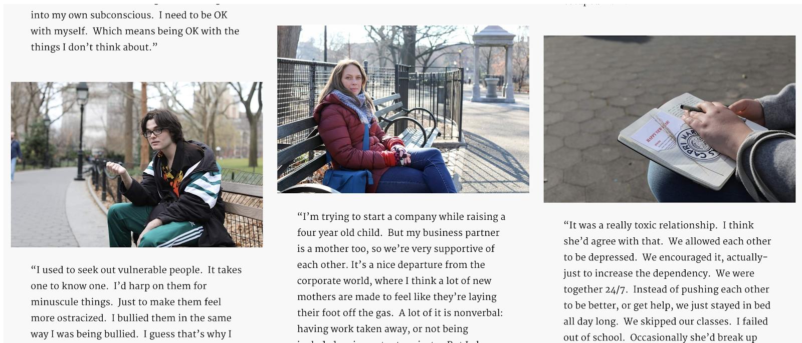 Captura de pantalla del diseño del blog de Humans of New York (Historias con imágenes de ejemplo)