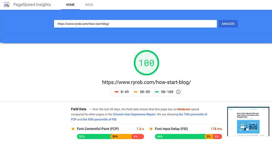 Velocidad de carga de página (captura de pantalla de prueba de carga) en diseño de blog