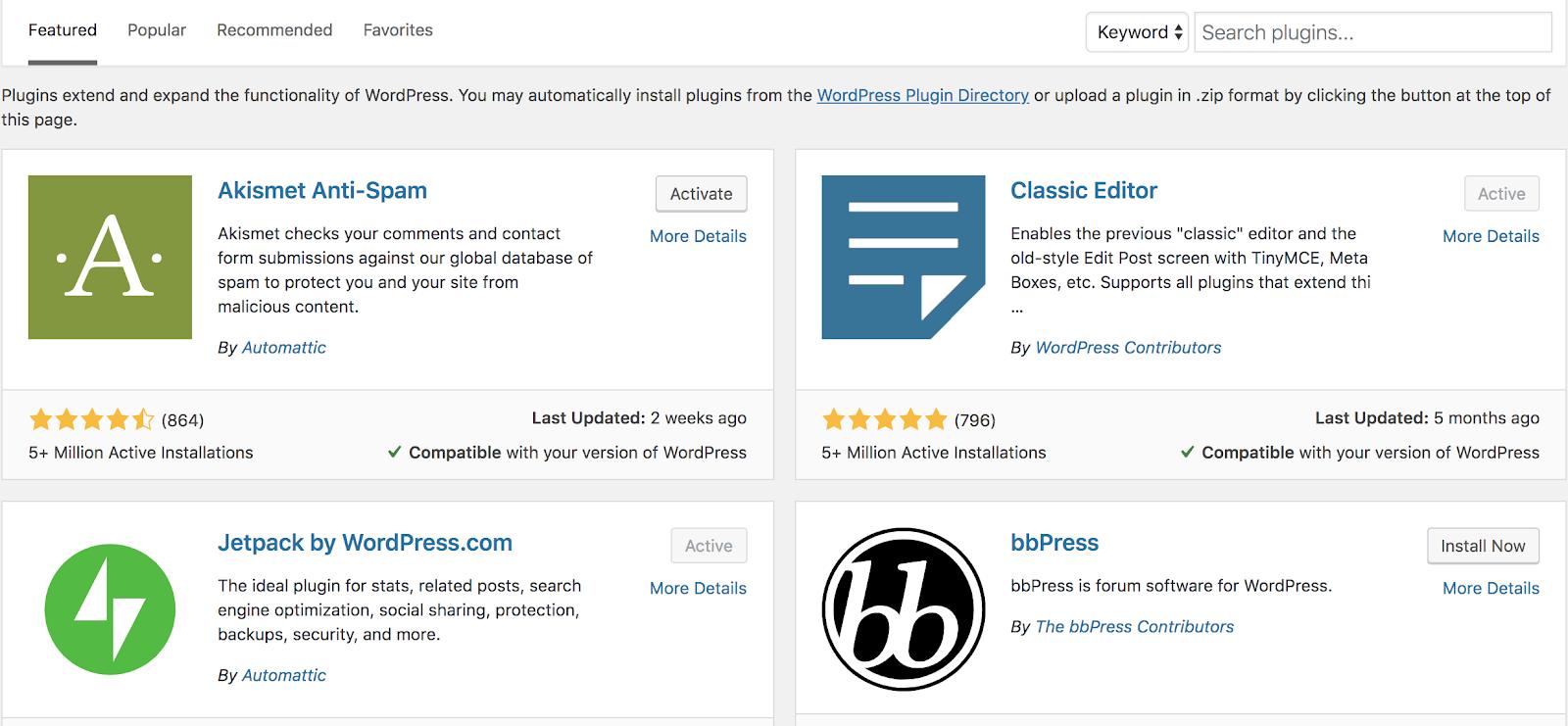 Eliminar complementos innecesarios (para aumentar la velocidad de tu blog) Captura de pantalla de complementos de WordPress