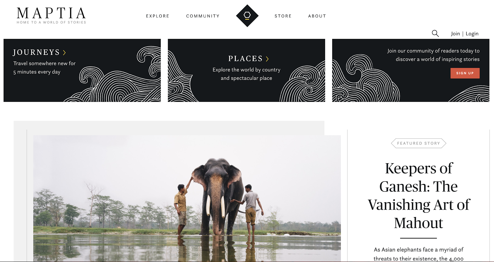 Maptia Blog Layout Homepage Example (Clean and Minimalist)