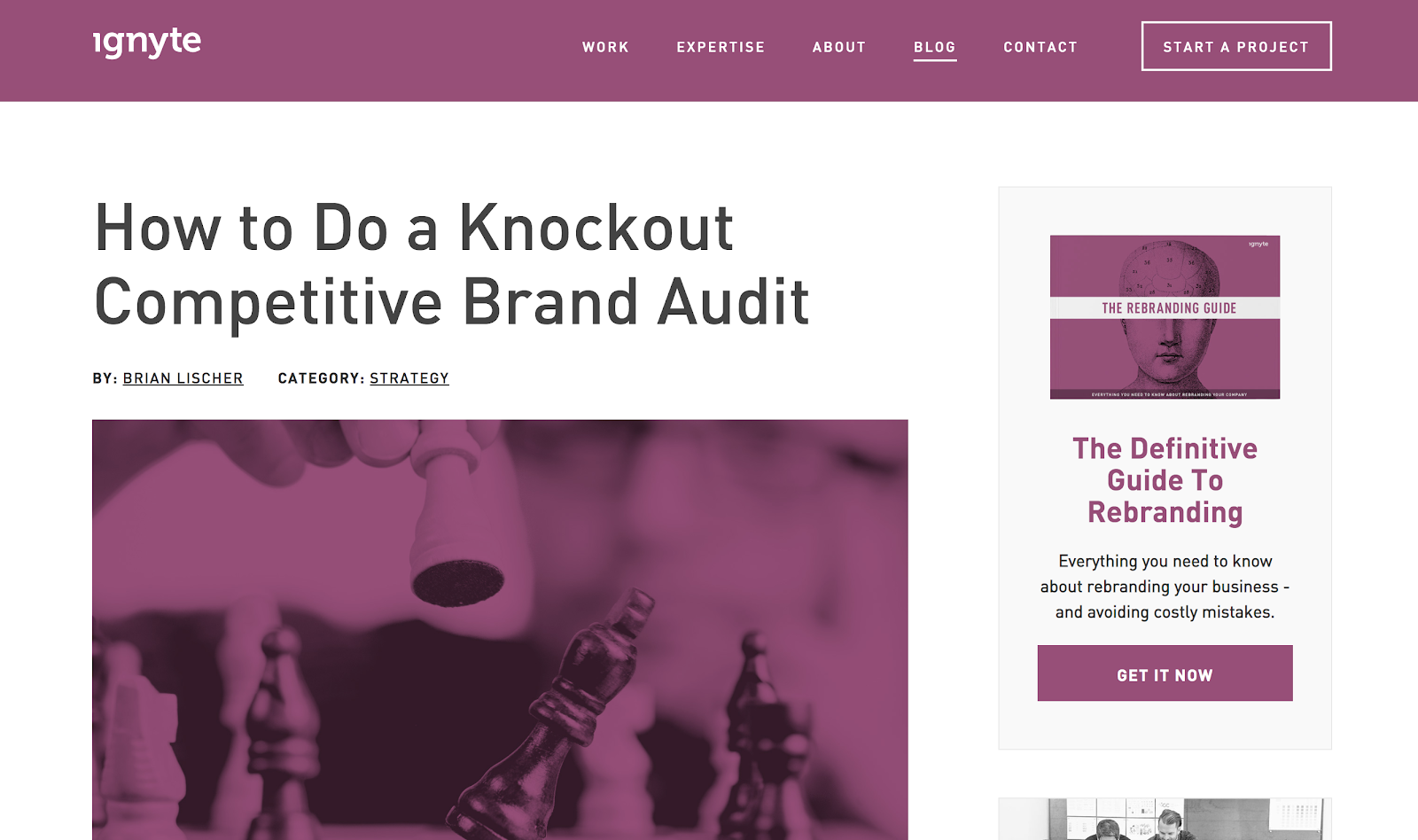 Example of Branding with Colors on Your Blog (Ignyte Screenshot)