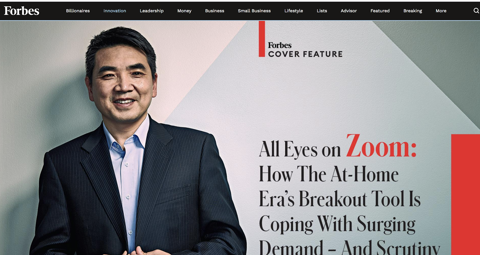 Forbes Feature Story Header Image (Screenshot) Example