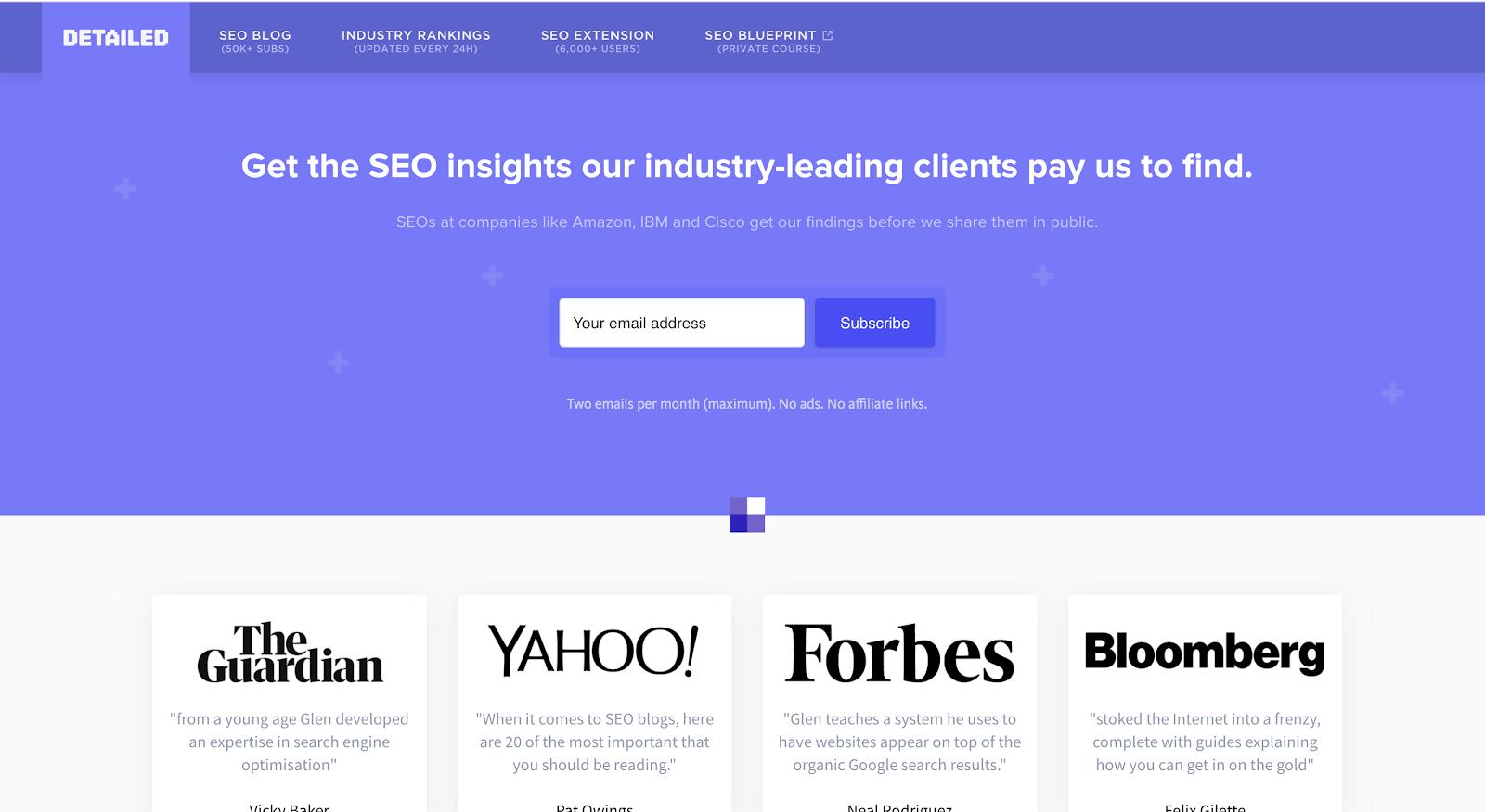Detailed SEO Website Homepage Screenshot (Blog Layout Examples)