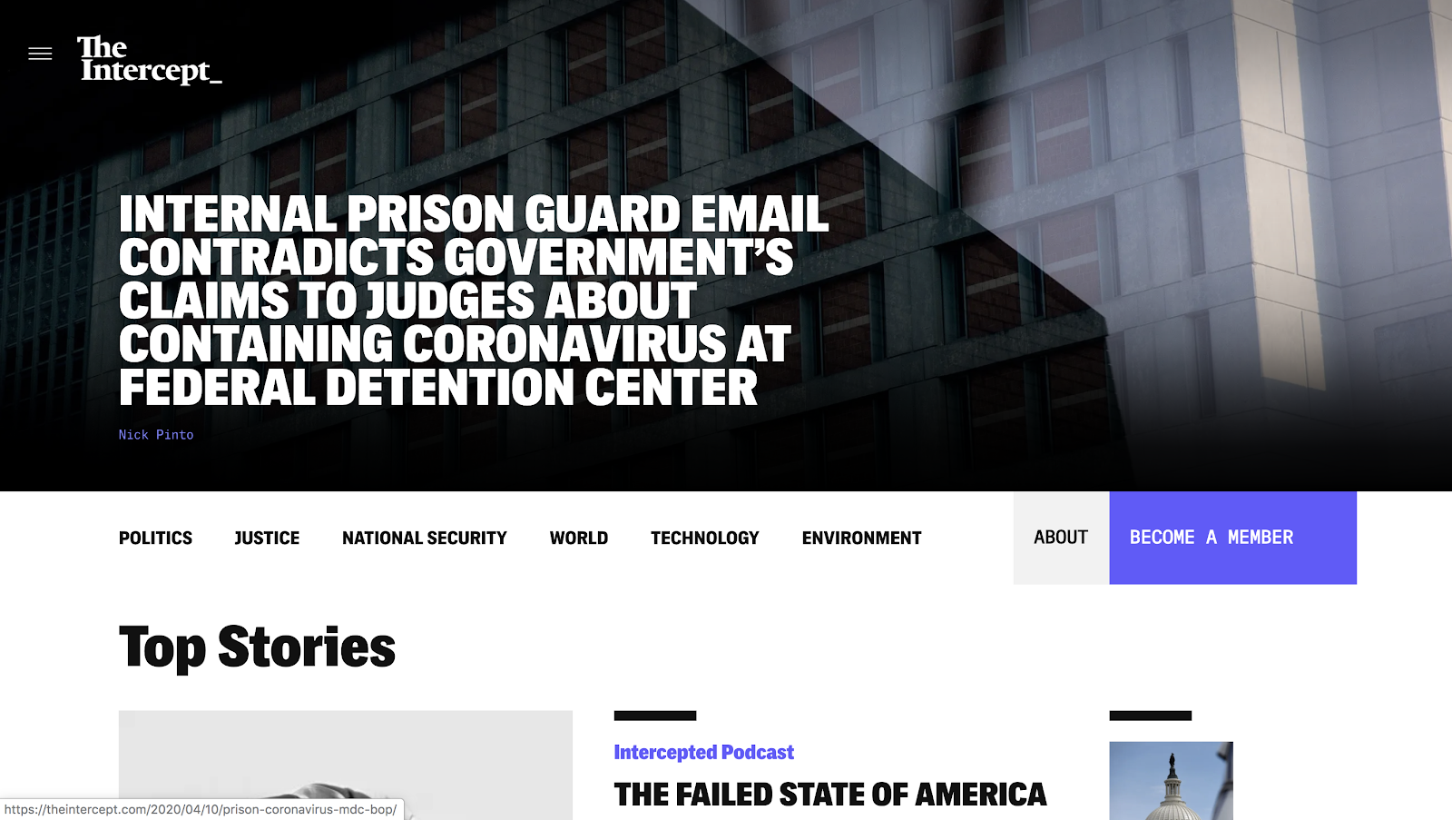 The Intercept Homepage (Blog Layout Examples)