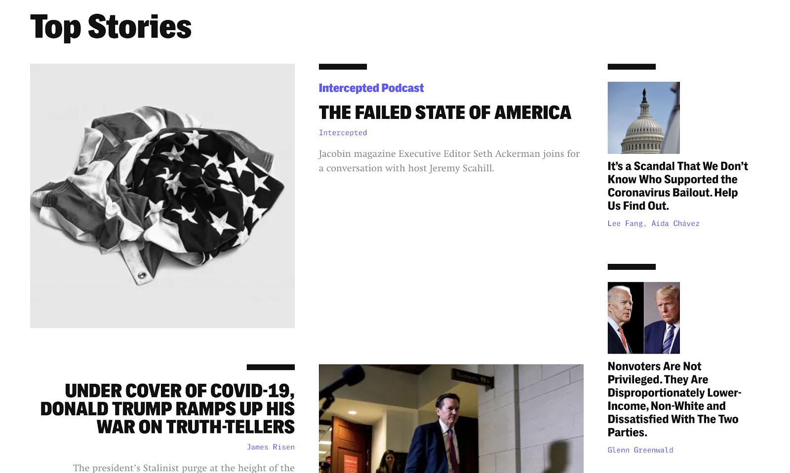 The Intercept Screenshot of Top Stories