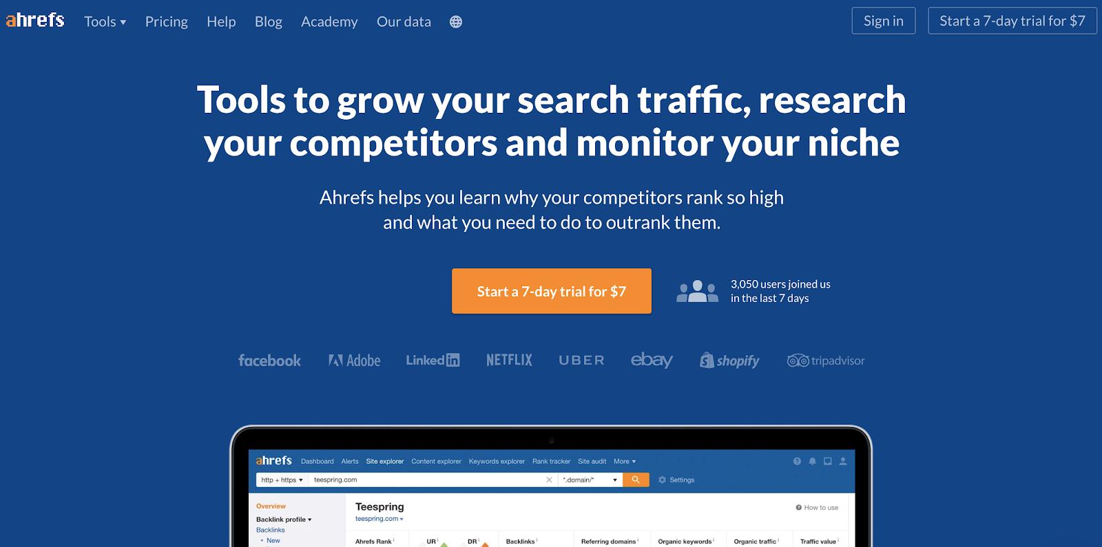 Ahrefs Homepage Screenshot (Blog Layout Examples)
